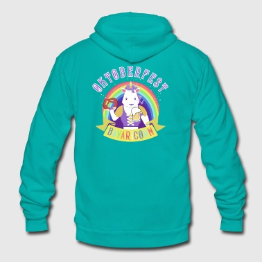 Funny Oktoberfest Unicorn with Pretzel & Beer Mug - Unisex Fleece Zip Hoodie