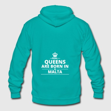 LOVE GESCHENK queens born in MALTA - Unisex Fleece Zip Hoodie by American Apparel