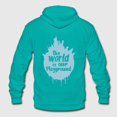 The World is our Playground Tee - Unisex Fleece Zip Hoodie by American Apparel