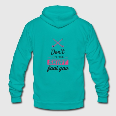 Girls Field Hockey Shirt, Don't Let the Skirt - Unisex Fleece Zip Hoodie by American Apparel