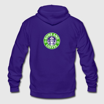 Guns and Coffee - Unisex Fleece Zip Hoodie by American Apparel