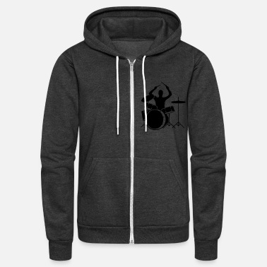 Clothing A drummer and drums - Unisex Fleece Zip Hoodie