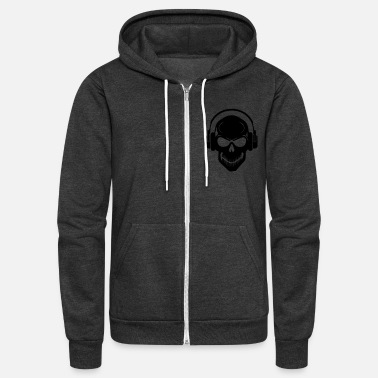 Rave Skull with Headphones - Rave - Electro - Hardstyle - Unisex Fleece Zip Hoodie