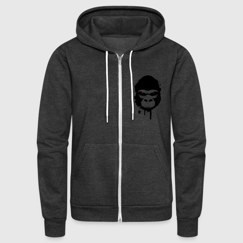 A gorilla head Graffiti - Unisex Fleece Zip Hoodie