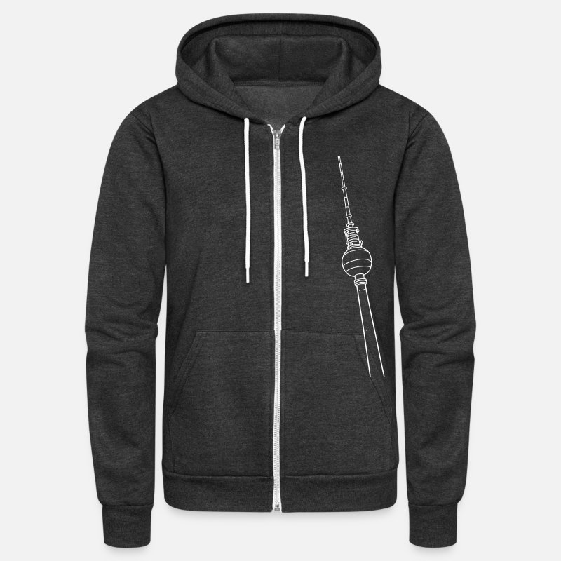 Berlin Tower Hoodies & Sweatshirts - Berlin TV Tower - Unisex Fleece Zip Hoodie charcoal gray