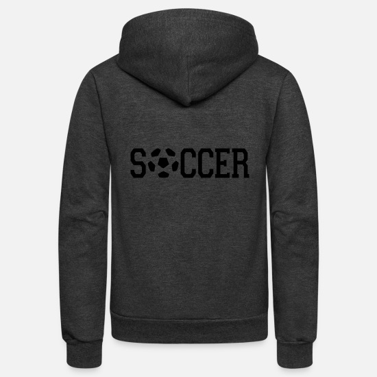 Soccer Hoodies & Sweatshirts - soccer - Unisex Fleece Zip Hoodie charcoal gray