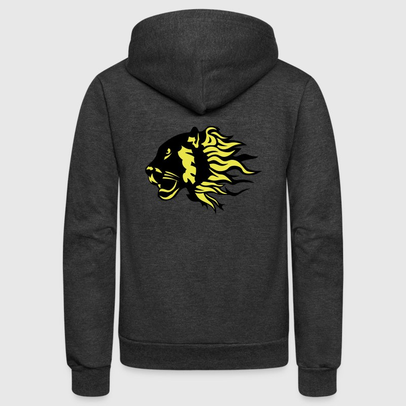 panther fire flame animal 3020 - Unisex Fleece Zip Hoodie