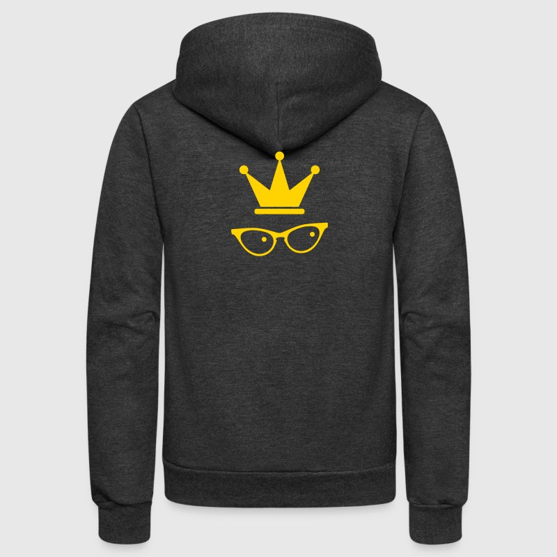 cat eyed glasses office princess with royal crown - Unisex Fleece Zip Hoodie