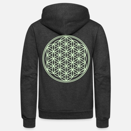 Life Flower Hoodies & Sweatshirts - Flower Of Life - vector - Unisex Fleece Zip Hoodie charcoal gray