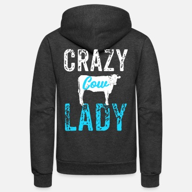 Cow Crazy Cow Lady, Cow Lover - Unisex Fleece Zip Hoodie