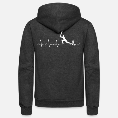 Cricket Cricket Player, Cricket Heartbeat, Cricket Player Gift - Unisex Fleece Zip Hoodie