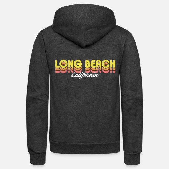 Beach Hoodies & Sweatshirts - Retro Long Beach California - Unisex Fleece Zip Hoodie charcoal gray