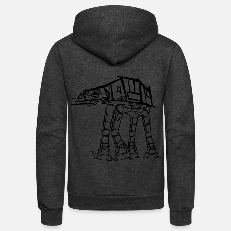 Geek Hoodies & Sweatshirts - AT-AT Imperial Walker [Artist Rendering]  - Unisex Fleece Zip Hoodie charcoal gray