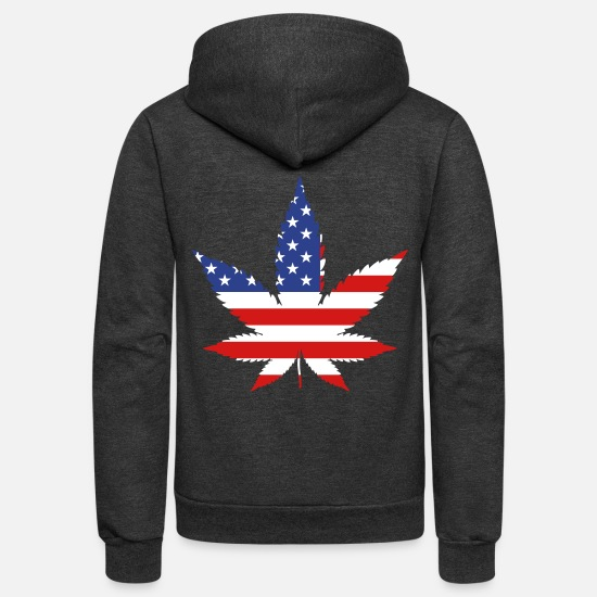 Usa Hoodies & Sweatshirts - marijuana grass weed - Unisex Fleece Zip Hoodie charcoal gray