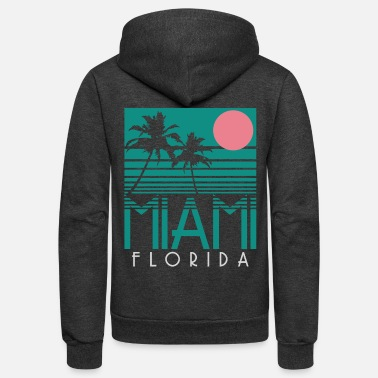 Miami Miami Florida - Vintage Palm Trees Summer Beach - Unisex Fleece Zip Hoodie