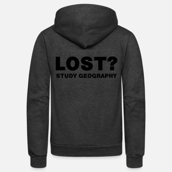 Geography Hoodies & Sweatshirts - Lost? - Unisex Fleece Zip Hoodie charcoal gray