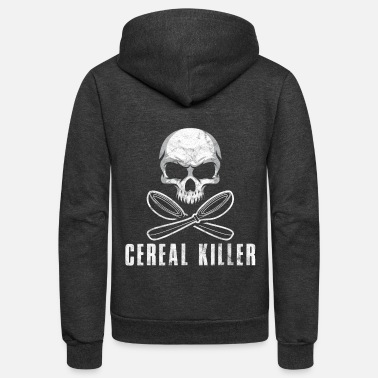 Tasty Cereal Killer Funny Food Eating Skull Bones Gift - Unisex Fleece Zip Hoodie