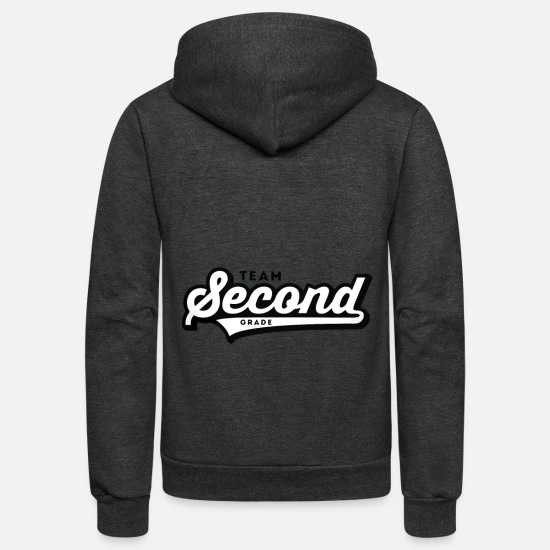 Second Hoodies & Sweatshirts - Team Second Grade - Unisex Fleece Zip Hoodie charcoal gray