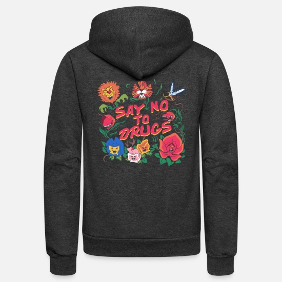Flower Hoodies & Sweatshirts - Say No To Drugs Learn From The Flowers T Shirt - Unisex Fleece Zip Hoodie charcoal gray
