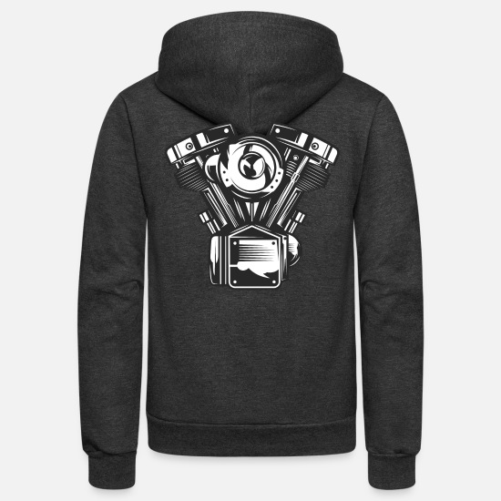 Wheel Hoodies & Sweatshirts - machine - Unisex Fleece Zip Hoodie charcoal gray