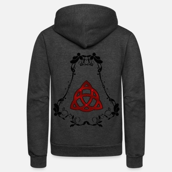Red Hoodies & Sweatshirts - The celtic knot - Unisex Fleece Zip Hoodie charcoal gray