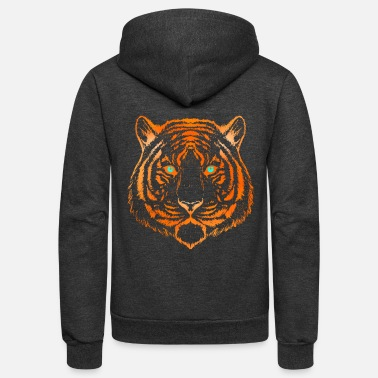 Big Sister The Tiger Face Animal Gift Idea Shirt - Unisex Fleece Zip Hoodie