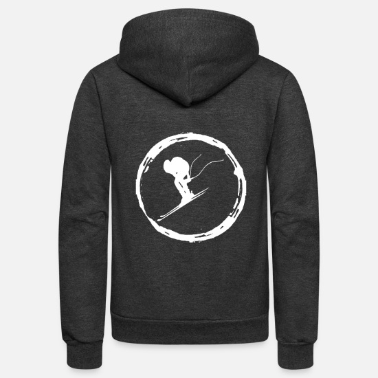 Skiing Hoodies & Sweatshirts - Ski Skier Skiing Ski Club Skies - Unisex Fleece Zip Hoodie charcoal gray