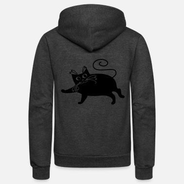 Fat Pussy Fat Black Cat - Unisex Fleece Zip Hoodie