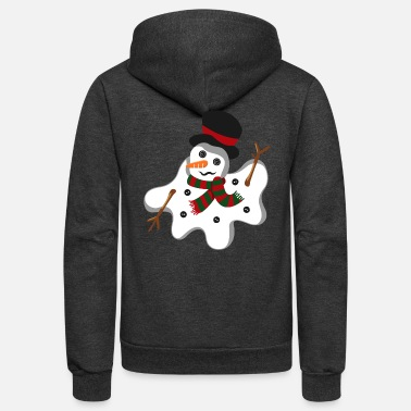 Snowman Cute Melting Snowman Frosty Christmas Xmas - Unisex Fleece Zip Hoodie