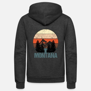 Montana Vintage Sunset Mountains Distressed Montana - Unisex Fleece Zip Hoodie
