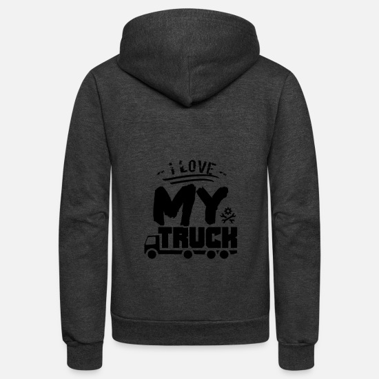 Truck Driver Hoodies & Sweatshirts - Truck Driving - Unisex Fleece Zip Hoodie charcoal gray