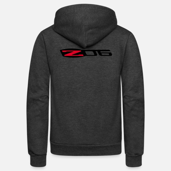 Emblem Hoodies & Sweatshirts - CORVETTE Z06 LOGO - Unisex Fleece Zip Hoodie charcoal gray