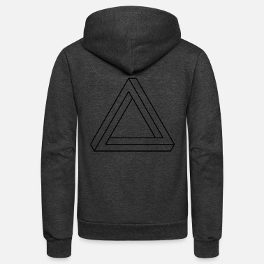 Optical Illusion impossible 3-sided shape visual optical illusion - Unisex Fleece Zip Hoodie