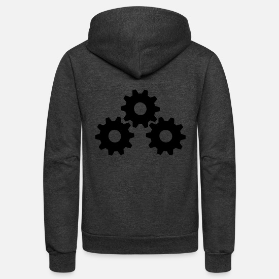 Wheel Hoodies & Sweatshirts - Gear Wheels - Unisex Fleece Zip Hoodie charcoal gray