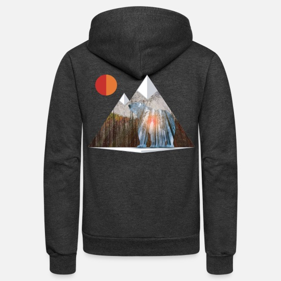 Mountains Hoodies & Sweatshirts - Bear Sun Salute in Mountain Forest - Unisex Fleece Zip Hoodie charcoal gray