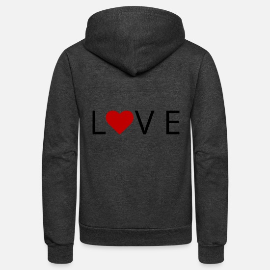 Love Hoodies & Sweatshirts - LOVE with heart nice valentine's gift - Unisex Fleece Zip Hoodie charcoal gray