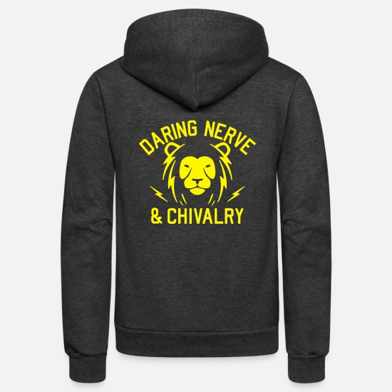 Chivalry Hoodies & Sweatshirts - Daring Nerve And Chivalry - Unisex Fleece Zip Hoodie charcoal gray