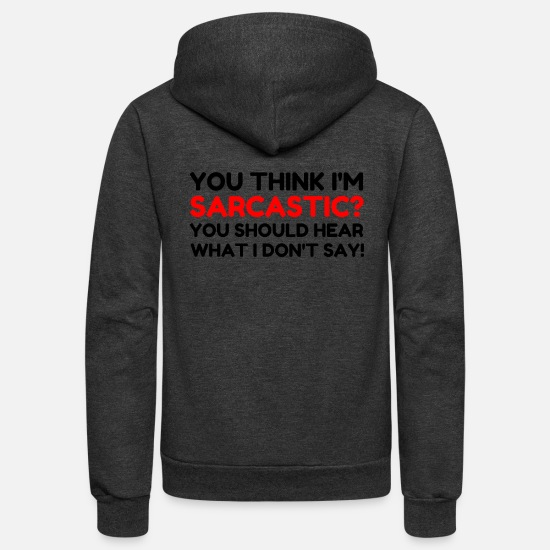 Thoughts Hoodies & Sweatshirts - Sarcastic - Unisex Fleece Zip Hoodie charcoal gray