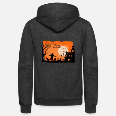 Halloween Horror Illustration Vector Design - Unisex Fleece Zip Hoodie