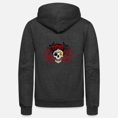 Frida Kahlo Sugar Skull - Unisex Fleece Zip Hoodie