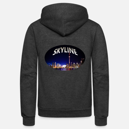 Building Hoodies & Sweatshirts - Skyline - Sky - Buildings - Ocean - Unisex Fleece Zip Hoodie charcoal gray