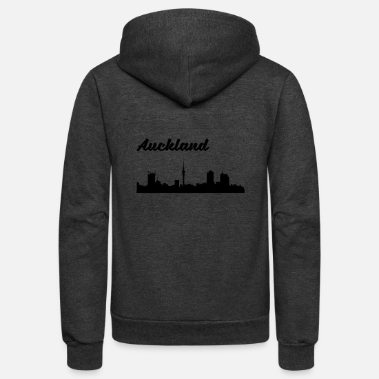 New Zealand Hoodies & Sweatshirts - Auckland Skyline - Unisex Fleece Zip Hoodie charcoal gray