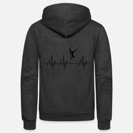 Pole Dance Hoodies & Sweatshirts - Heartbeat Pole Dance Dancing Dancer - Unisex Fleece Zip Hoodie charcoal gray