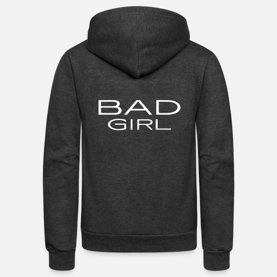 Girl Running Hoodies & Sweatshirts - Bad Girl - naughty - witty - mean - Unisex Fleece Zip Hoodie charcoal gray