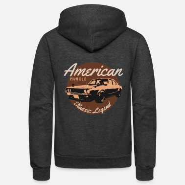 American muscle classic legend retro car gift - Unisex Fleece Zip Hoodie