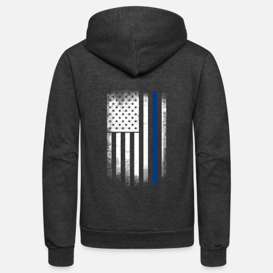 Blue Sky Hoodies & Sweatshirts - american flag blue line police solidarity team - Unisex Fleece Zip Hoodie charcoal gray