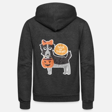 Trick or Treat Puppy Haloween Pumpkin Dog Shirt - Unisex Fleece Zip Hoodie