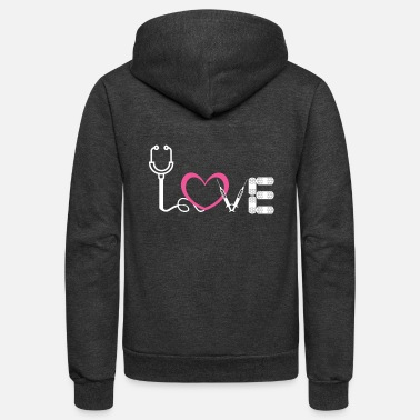Medication LOVE Medical T-Shirt Gift for Nurse and Doctor - Unisex Fleece Zip Hoodie
