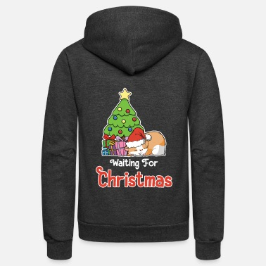 Sleeping Waiting For Christmas - Sleeping Santa Hamster - Unisex Fleece Zip Hoodie