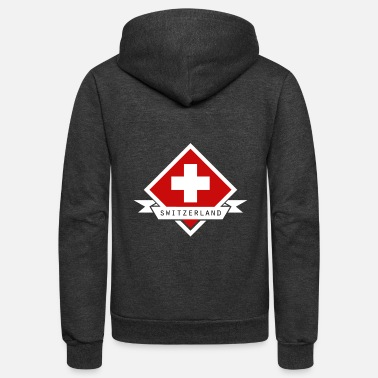 Switzerland Switzerland Swiss Cross on Red Diamond - Unisex Fleece Zip Hoodie